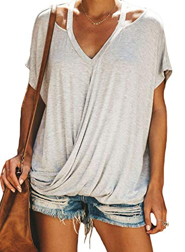 Sidefeel Women V Neck Short Sleeve Cut Out Drape T-Shirt Knot Front Casual Top Small Gray