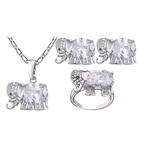 Zirconia Elephant Cubic - U7 Women Jewelry Set 3 Pieces Platinum Plated Cubic Zirconia Elephant Pendant Necklace Earrings Ring Sets (Ring Size 9)