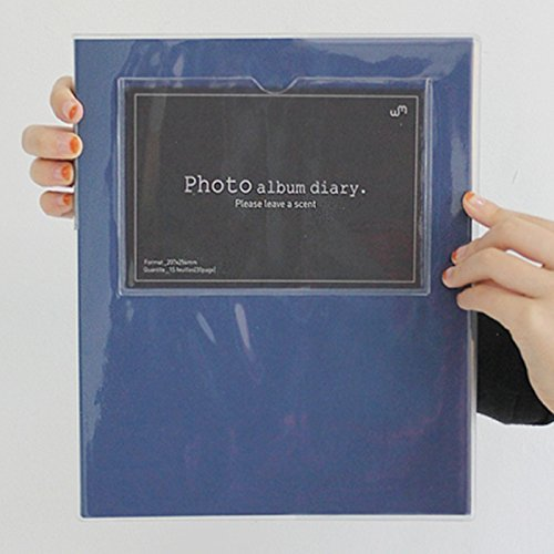 Colorful Self Adhesive Photo Album Book, 30 Pages Holds 3x5, 4x6, 5x7, 6x8 Photos, Square Front Window (Navy)