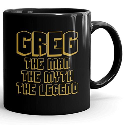 Custom Greg Gift - The Man The Myth The Legend - Coffee Mugs for Men, Husband, Father, Boyfriend - 11oz Black Mug - Gold Black 1