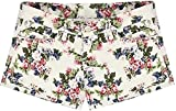 Unomatch Women's Floral Casual Short White (28, WHITE)