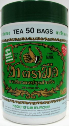 Hand Thai Milk Green Tea Green Lebal 2g. Pack 50 Number One Brand Product of Thailand by Hand Thai