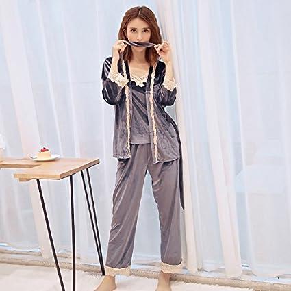 Wanglele Pijama De Terciopelo De Invierno Mujer Tira De Manga Larga Traje De Tres Piezas De