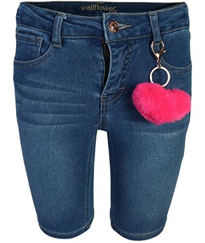 WallFlower Girls Bermuda Soft Stretch Denim Shorts, Dark Wash w/Keychain, Size 7