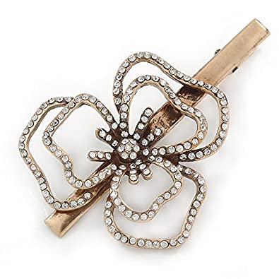 80af3f9ae55 Amazon.com: Large Vintage Inspired Clear Austrian Crystal Open Daisy ...