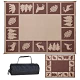 Reversible Mats 229127 9' x 12' Outdoor Patio/RV Camping Wilderness Hunter (Brown/Beige)