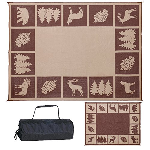 Reversible Mats 229127 9' x 12' Outdoor Patio/RV Camping Wilderness Hunter Mat-(Brown/Beige)  (Decks Outdoor Carpet For Best)