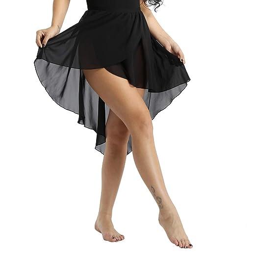 33c2758083 Alvivi Women s Side-Dip Asymmetrical Chiffon Skirt Ballet Dance Mini Dress  Costume Dancewear Black One Size
