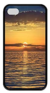 iPhone 4 4s Case, iPhone 4 4s Cases Sea sunset Custom Design TPU Soft Case Cover Protector for iPhone 4 4s Black