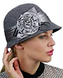 NYFASHION101 Women's Satin Band Flower Accent Wool Felt Bucket Cloche Hat, Gray