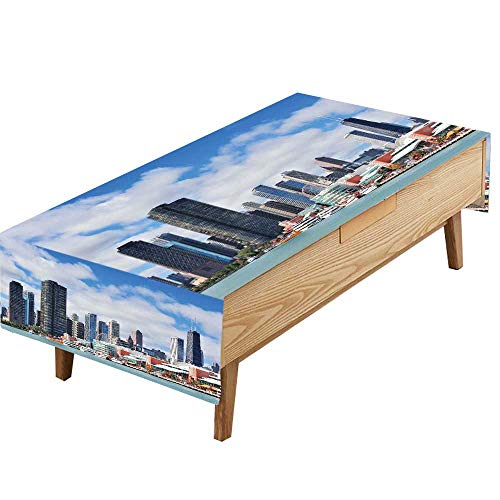 PINAFORE 100% Polyester Tablecloth Chicago City Downtown Urban Skyline Skyscrapers Over Lake Michigan Cloudy Blue Sky Dinner Tables Baby Birthday Parties W50 x L80 INCH for $<!--$40.80-->