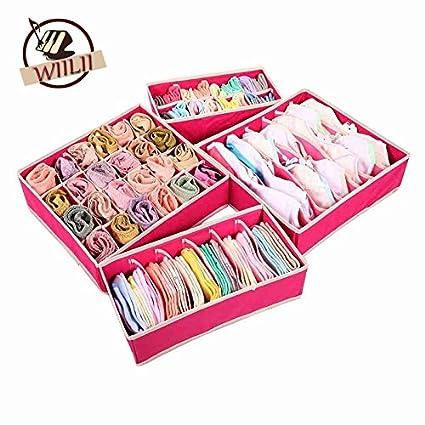Generic rosa: plegable Beige Rosa cajas para ropa interior lencería sujetador calcetines corbatas divisor organizador