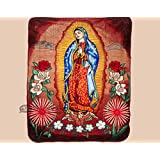"Southwestern Luxury Plush Blanket 71""x91""- Virgin of Guadalupe"