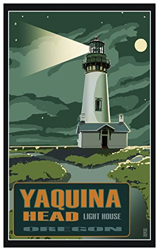 (Yaquina Head Lighthouse Newport Oregon Night Travel Art Print Poster by Mike Rangner (12