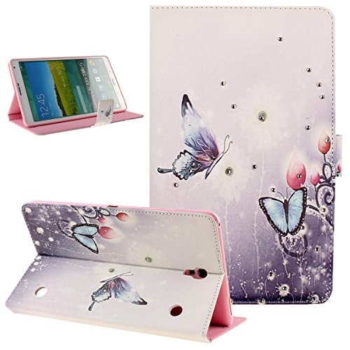 (Galaxy Tab S 8.4 Case,Butterfly Fairy and Flower Inlaid Shiny Glitter Diamond Pu Leather Flip Protective Case Cover Stand,Soft TPU Inner Case for Galaxy Tab S 8.4 SM-T700 / SM-T705,Butterflies)
