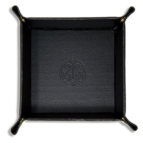 SIVEL + SHARP Vegan Leather Valet Tray - Embossed Catchall Tray with Brass Snaps (Black)