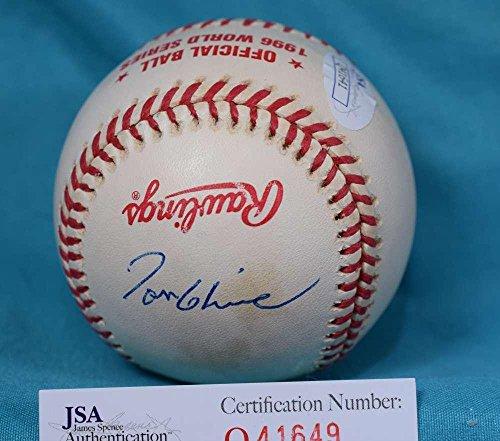 (Signed Tom Glavine Ball - COA 1996 WORLD SERIES - JSA Certified - Autographed Baseballs)