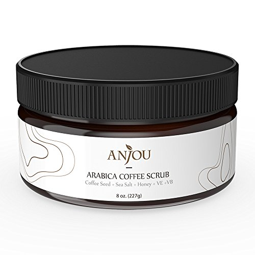 Anjou-Arabica-Coffee-Scrub-with-Honey-Sea-Salt-Jojoba-Oil-For-Face-and-Body-8-oz-Natural-Exfoliate-and-Cellulite-Treatment-Skin-Moisturizer-and-Purifier