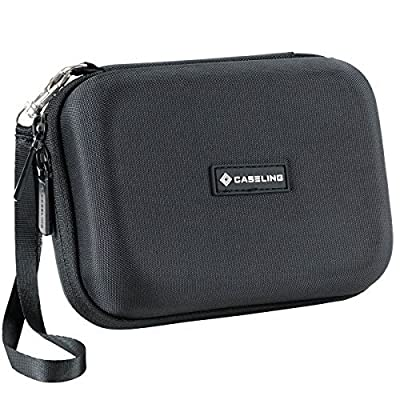 Caseling Hard Carrying GPS Case for up to 5-inch Screens. for Garmin Nuvi, Tomtom, Magellan, GPS – Mesh Pocket for USB Cable and Car Charger - Black: GPS & Navigation