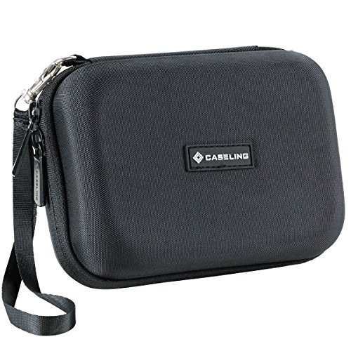(Caseling Hard Carrying GPS Case for up to 5-inch Screens. for Garmin Nuvi, Tomtom, Magellan, GPS - Mesh Pocket for USB Cable and Car Charger - Black)