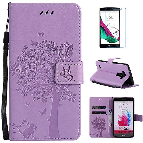 LG G3 Case, Mellonlu Luxury Wallet Leather Style Flip Folio Magnetic Case Card Slot Stand Cover with Wrist Strap for LG G3 (Purple)