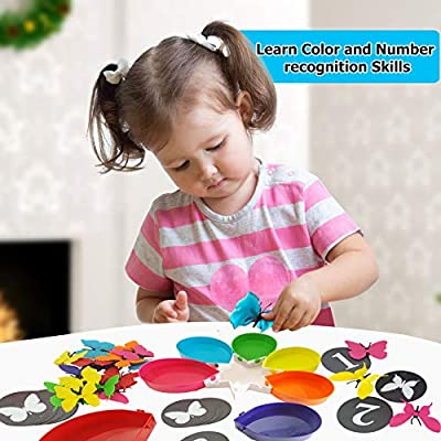 Skoolzy Butterfly Counting and Color Sorting Toys for Toddlers - Matching Montessori Preschool Learning Games - Educational STEM Toys for Girls & Boys Activities - Ages 2 3 4 5 Year Old - 75 pcs: Toys & Games