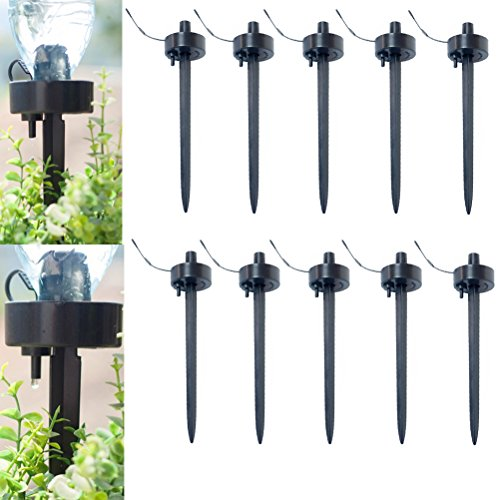 CoscosX 10 Pcs Automatic Self Watering Stakes Device Spikes Adjustable Flow Rate Drip DIY Vacation Watering Seepage Moving Controller Water Feeder Dropper Bottle Irrigation Plant Waterer Garden Cone by CoscosX