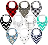 10-Pack Baby Bandana Drool Bibs for Drooling and Teething, 100% Organic Cotton, Soft and Absorbent, Hypoallergenic Unisex Bibs for Baby Boys & Girls - Baby Shower Gift Set by Ana Baby