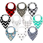 10-Pack Baby Bandana Drool Bibs for Drooling and Teething, 100% Organic Cotton, Soft and Absorbent, Hypoallergenic Unisex Bibs for Baby Boys & Girls - Baby Shower Gift Set by Ana Baby … (Multi Color)