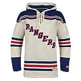 NHL New York Rangers Men's Vintage Lacer Heavyweight Hoodie, Large, Stone