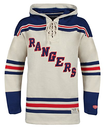 New York Rangers Men's Vintage Lacer Heavyweight Hoodie, Large, Stone ()