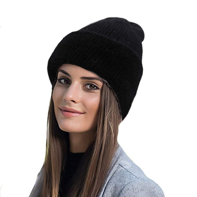 78255fa5aa95b9 Farlenoyar Women Girls Winter Warm Hats Angora Rabbit Fur Knit Hats  Cashmere Cotton Beanie Hat Cap