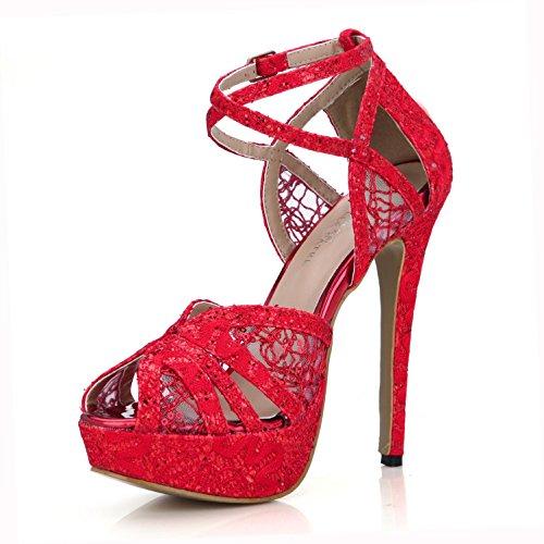 Best 4U® Sandalias de verano para mujer Cómodo encaje neto Bombas básicas Correas cruzadas una hebilla 14CM Tacones altos 3CM Plataforma Peep toe suela de goma Zapatos de la boda , Red , EU37
