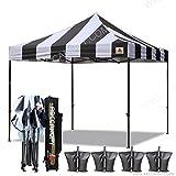 ABCCANOPY Deluxe 10×10 Ez Pop Up Canopy Carnival Canopy Popcorn Cotton Candy Vending Tent (stripe black/white)