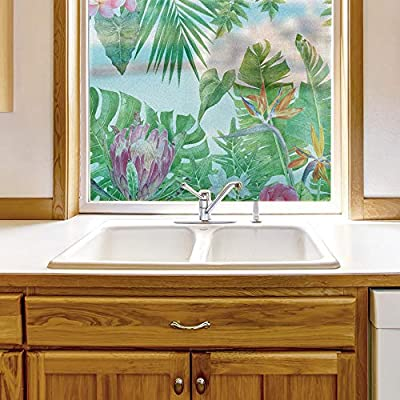 Original Creation, Majestic Visual, Window Film for Privacy Story Plants Large Decorative Glass Sticker for Office Home Meeting Room Bathroom Self Adhesive Anti UV Removable Flims