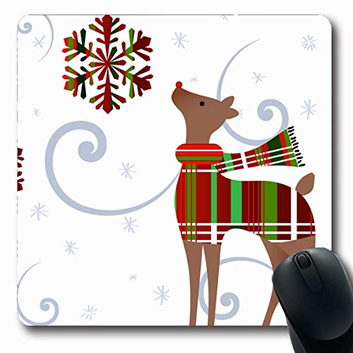 (Ahawoso Mousepad Oblong 7.9x9.8 Inches Reindeer Green Deer Gazing Plaid Snowflake Wind Snow Holidays Red Sweater Adorable Design Office Computer Laptop Notebook Mouse Pad,Non-Slip Rubber)