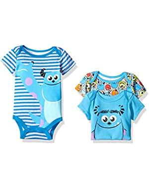 Disney Baby Boys' 3 Pack of Monsters Inc. Bodysuits
