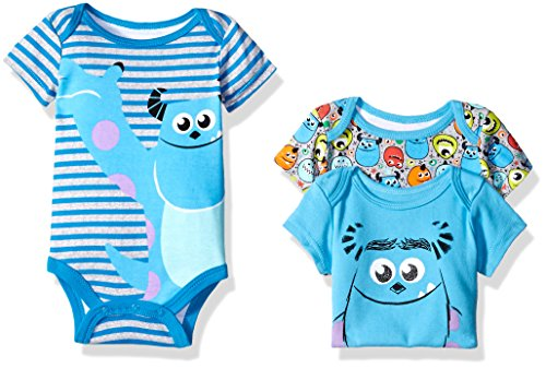 Disney Baby Boys' 3 Pack of Monsters Inc. Bodysuits, Blue, 0/3 Months
