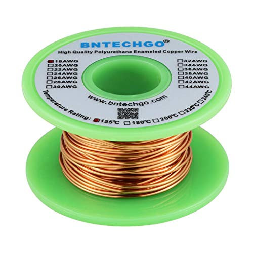 BNTECHGO 18 AWG Magnet Wire - Enameled Copper Wire - Enameled Magnet Winding Wire - 4 oz - 0.0393