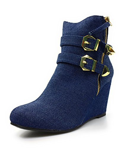 Forever Womens Double Ankle Straps Wedge Heel Ankle Booties by Bluedemin Xsi6n