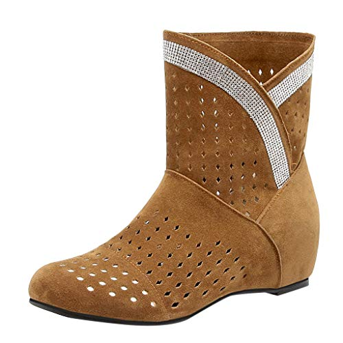 (◕‿◕Watere◕‿◕ Women's Boots,Retro Fashion Women's Booties Flat Boots Hollow Large Size Boots Yellow )