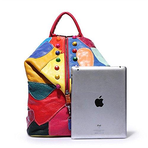 Da Pelle Di In Donna Zaini Zaino A Tracolla Messenger Grandi Unisex Con Lo Dimensioni Per Retrò Tasche Borsa Multiple Shopping Colorful Spalla 0vw6xwq