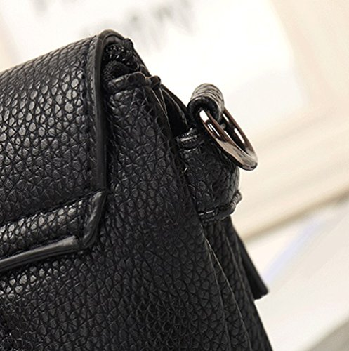 Heheja Mujeres Un Diseño Sencillo Bolsa de Bandolera Ligero Bolso de Flecos Negro