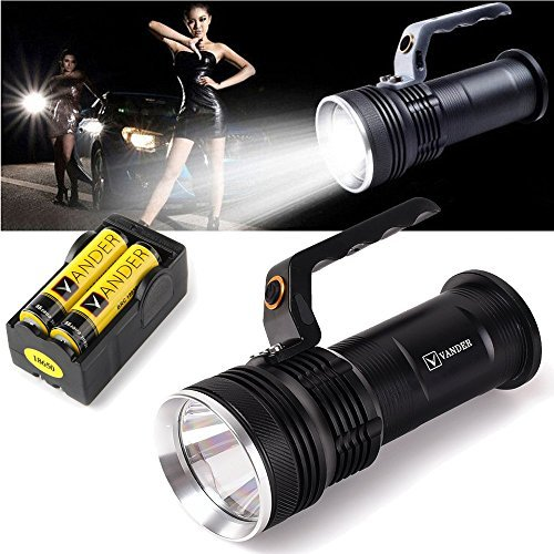 Vander LED Portable Flashlight Torch with Charger&18650 Batteries For Carry Caving Hiking & Night Riding