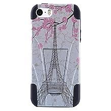 Amzer AMZ98634 Case Skin for iPhone SE/5S/5, Retail Packaging, White Vintage Eiffel Tower Paris Sakura Floral