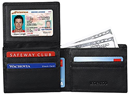 01. RFID Blocking Leather Wallet for Men - Excellent Credit Card Protector - Stop Electronic Pick Pocketing By Leopardd