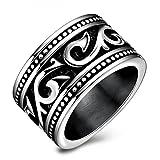 Men Stainless Steel Black Swirl Engagement Plain Ring Wedding Band Gift