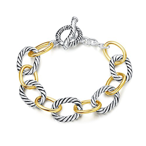 UNY Bracelet Designer Brand Inspired Antique Women Jewelry Cable Wire Vintage Valentine (2 Tone)