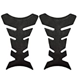 Fish Bone Sticker,EFORCAR Motorcycle Parts Black Protector Paste Carbon Fiber Resin Tank Pad Protector Decal Fishbone Style -2PCS