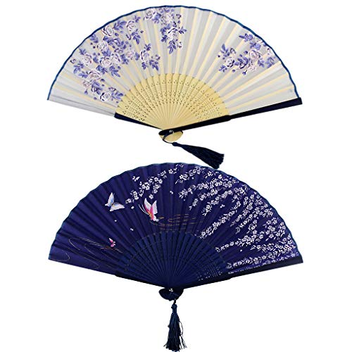 Bantoye 2 Pieces Handheld Fans, Silk Folding Fans with Bamboo Frames for Dancing Cosplay Wedding Party Props Decoration, White Blue (Silk Fans)
